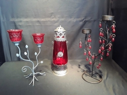 3 Lovely metal red glass candle lamps