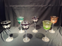 Set of Bohemian color crystal glasses