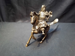 Impressive Chinese Mythical Warrior Guan Yu On Horse Bronze Statue Symbol Of Righteousness And Bravery