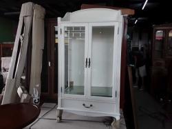 DISPLAY CABINET 2 DOOR 1 DRAWER WHITE PAINTED