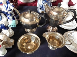 2x Silver plated tea pots and 2x milk jugs