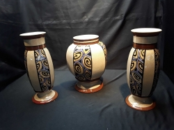 A set of 3 Belgian Auguste mousin wasmuel old vases very rare in this condition