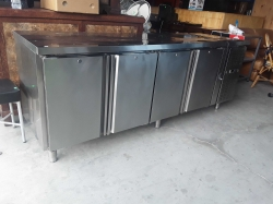 Stainless steel Counter fridge 4 doors 76x200x80cm
