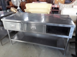 Stainless steel table with 3 drawers one door missing 70x150x80cm
