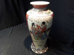 A Tall very Elegant Satsuma Vase Hand painted & Gilt Embossed with japanese Ladies