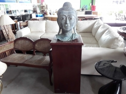 Heavy Bronze Buddha head with stand
