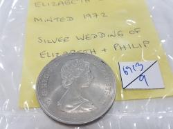Elizabeth II minted,1972 silver wedding of Elizabeth & Philip
