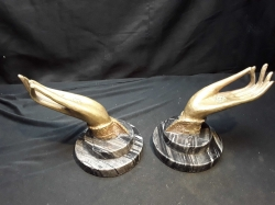 Pair of Brass hands on Marble Base