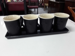 Set of Four Guinness toucan coffee mugs with tray