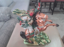 A large Chinese rearing horse & men warrior ornament