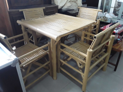 Bamboo table with 4 bamboo Chairs