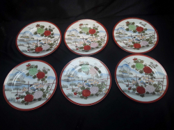 A set of six Matching vintage Kutani Japanese 19Cm side plates all in perfect condition stamped to base