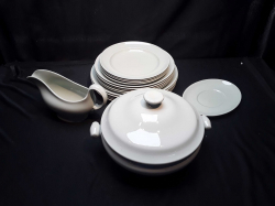 14 new pale green plates & A matching tureen & gravy bowl