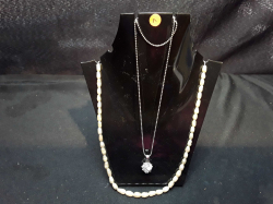 Pearl Necklace + Silver Necklace with Zircoin    (Stand NOT included)