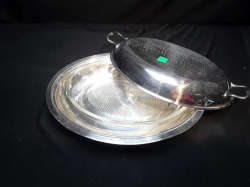 Silver plate Serving dish with glass bowl and lid