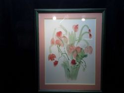 A 67x55cm water colour painting of flowers in A vase beautifully framed & stamped