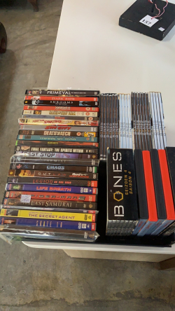 A box of 50 + DVDs